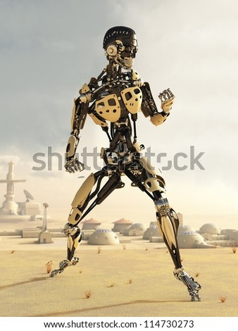 Futuristic science fiction android in a desert landscape outside a small town, 3d digitally rendered illustration