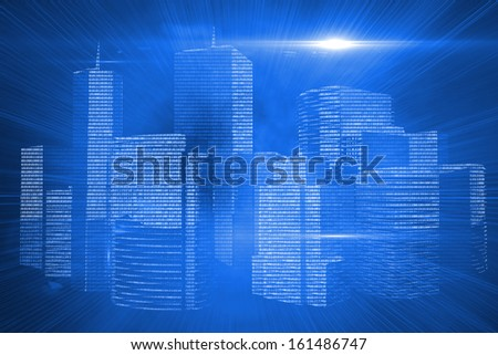 Futuristic shiny cityscape on blue background