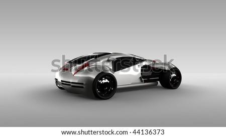 Futuristic Silver Concept Sports Car Isolated In Studio