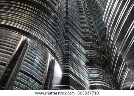 Futuristic skyscrapers in Kuala Lumpur, Malaysia, close-up view - stock photo