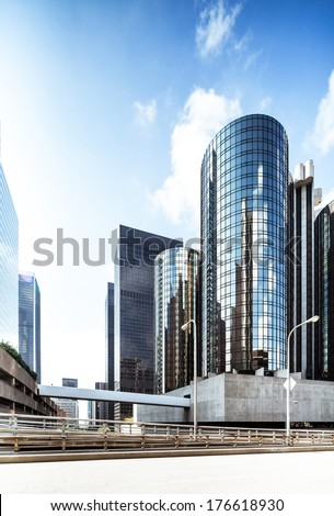 Futuristic skyscrapers in Los Angeles downtown in sunlight  - stock photo