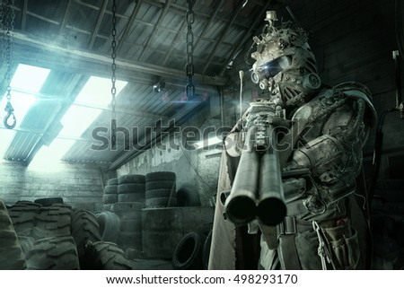 Futuristic soldier posing with gun and armor
