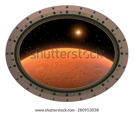 Futuristic Space Station Porthole. View To Red Planet. 3D Scene. - stock photo