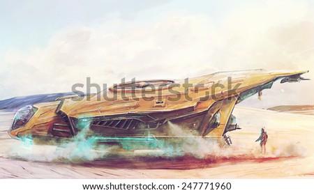 Futuristic spaceship landing on lost post apocalyptic planet concept art - stock photo