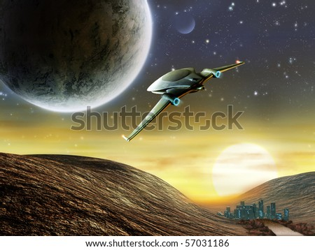 Futuristic spaceship traveling in a distant solar system. Digital illustration