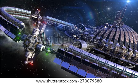 Futuristic spherical spaceship with gravitation wheel in interstellar deep space travel - stock photo