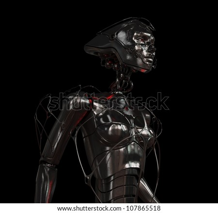 Futuristic steel robotic woman with ornamentation in profile on the black background / Stylish cyber girl on black