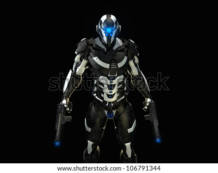 futuristic super soldier - stock photo