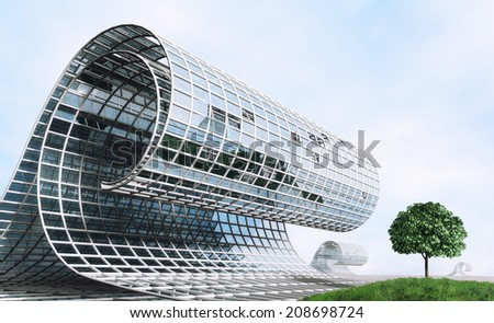 Futuristic surreal design in the form of a wave and tree - stock photo