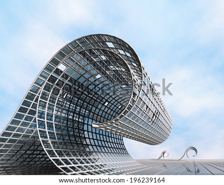 Futuristic surreal design in the form of a wave. Modern construction of steel and glass