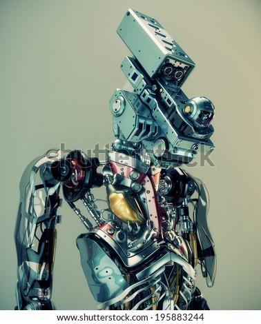 Futuristic surveillance dron with human organs / Robotic humanoid security - stock photo
