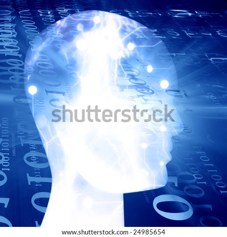 Futuristic technology background on a blue background - stock photo
