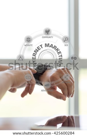 Futuristic Technology Concept: INTERNET MARKETING chart with icons and keywords - stock photo