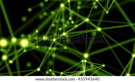 Futuristic technology motion background. Beautiful flowing nodes in network connection. Plexus and particles fantasy. More original unique stylish abstract backgrounds in my portfolio. - stock photo