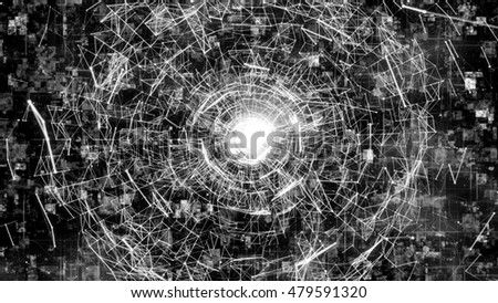 Futuristic technology style. 3D render background of random lines and particles. The design consists of fractal elements as a metaphor on the subject of business, science, education and technology.
