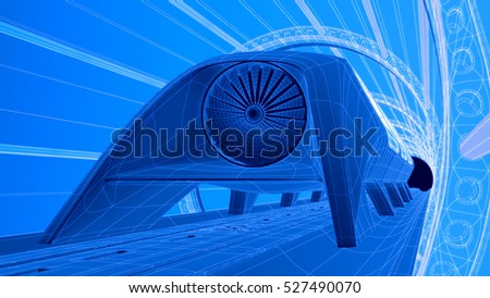 Futuristic train module on magnetic track stock illustration futuristic train module on magnetic track blueprint background 3d rendering malvernweather Choice Image