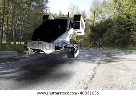 futuristic transforming scifi robot and spaceship on rural road - stock photo