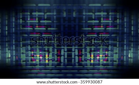 Futuristic, video screen display pixels creating an abstract pattern.