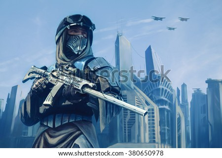 Futuristic warrior with weapons - stock photo