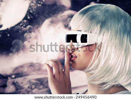 futuristic woman - stock photo