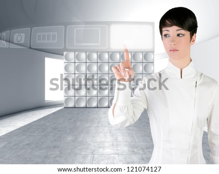 Futuristic woman touch finger copyspace in modern indoor with web holographic icons