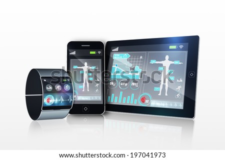 Futuristic wrist watch with tablet and smartphone on white background