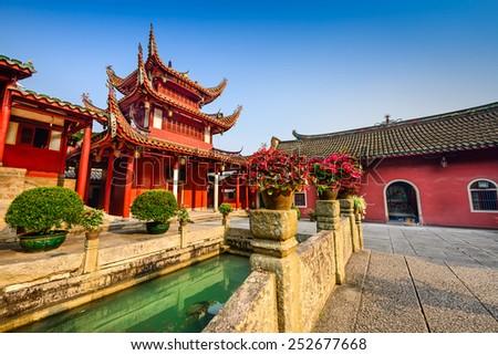 Fuzhou, China at Yongquan Temple on Drum Mountain. - stock photo