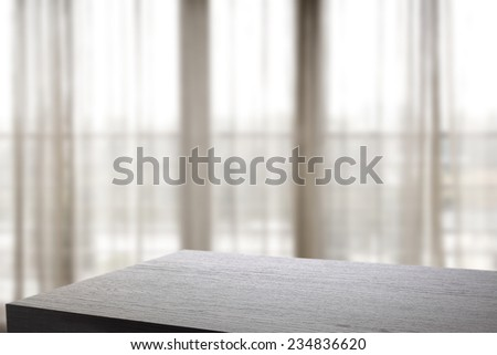 fuzzy window space and black board space  - stock photo