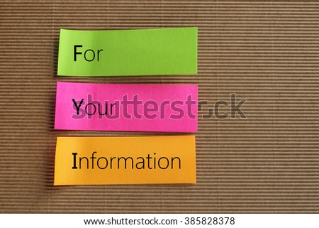 FYI, For Your Information text on colorful sticky notes - stock photo