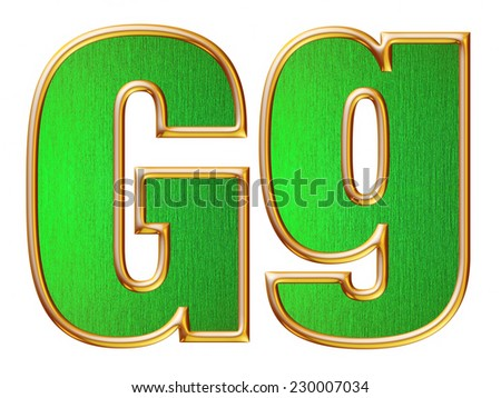 G big and small alphabet in Gold with inside Metallic Green texture on white background.  - stock photo