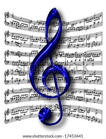 G-clef on music sheet background - stock photo