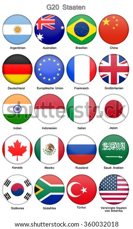 G-20 Flag Icon Collection with german label Complete