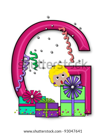 """G, in the alphabet set """"Birthday Letters"""", is surrounded by colorfully wrapped presents complete with bows.  Woman hides behind presents and peeks out pretending surprise. - stock photo"""