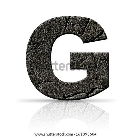 g  letter cracked cement texture