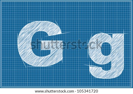 G letter of sketch on blue print - stock photo