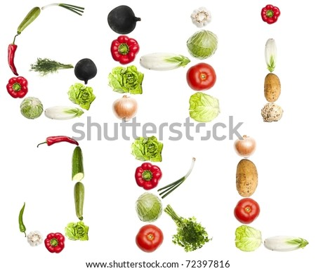 G to L letters made of different vegetables - stock photo