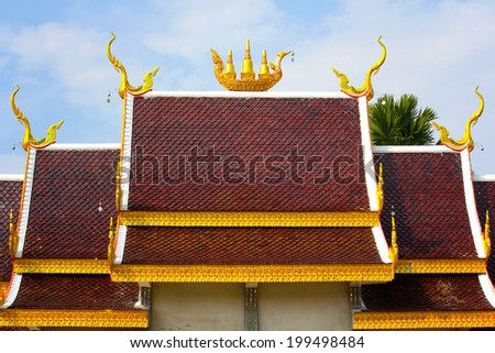 gable apex of church in a temple, roof at Wat Pho, Ban, Thailand - stock photo