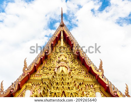gable apex of church in a temple, roof with nice sky at Wat Mahaeyong ,Nakhon Si Thammarat , Thailand