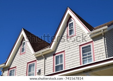 Gable Roof On Historic House. Gabled Roof On Historic House In Cape May, New