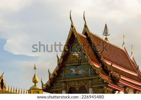 Gable roof on Thai temple - stock photo