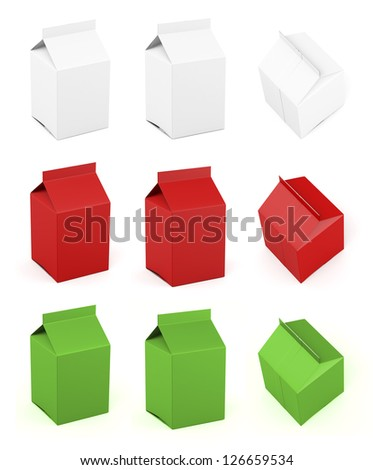 Gable top small different colors and views - stock photo