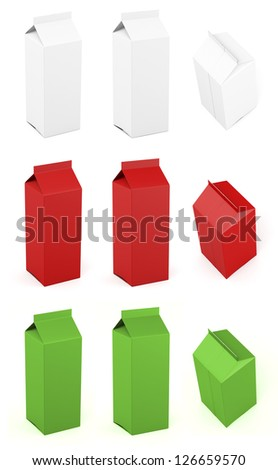 Gable top tall different colors and views - stock photo