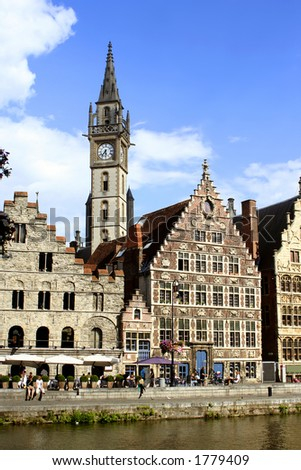 Gabled houses and clocktower in Gent, Belgium