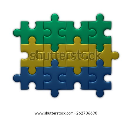 Gabon flag assembled of puzzle pieces isolated on white background - stock photo