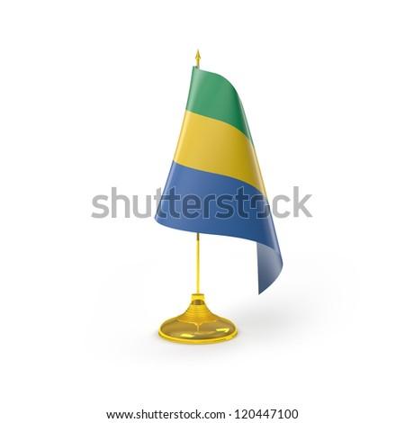 Gabon Flag Detail Render - stock photo