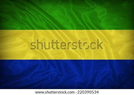 Gabon flag pattern on the fabric texture ,vintage style - stock photo