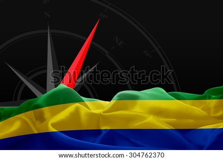 Gabon High Resolution flag and Navigation compass in background