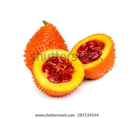 Gac fruit , Typical of orange-colored plant foods in Asia, gac fruit contains carotenoids such as beta-carotene . - stock photo