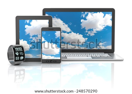 Gadgets including smartphone, smartwatch, digital tablet and laptop, 3d render, white background