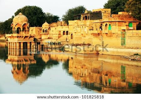 Gadisagar lake, Jaisalmer, India - stock photo